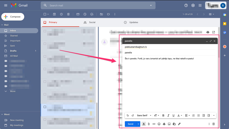 Google Gmail e-pasta rakstīšanas panelis